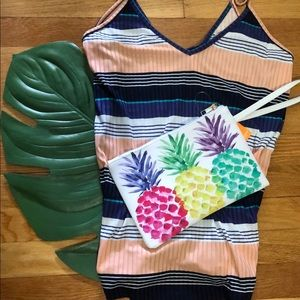 Tropical Pineapple Wristlet clutch pouch NWT white